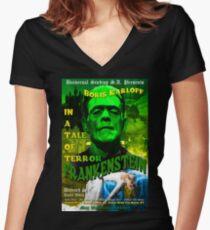 Frankenstein Retro Style Women's Fitted V-Neck T-Shirt