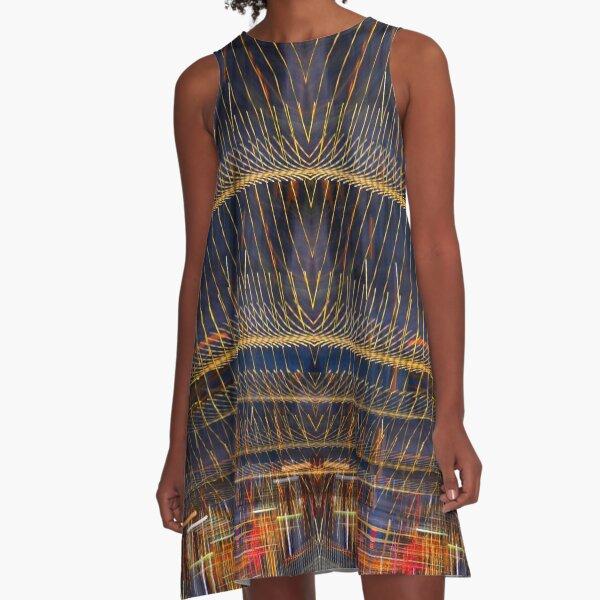 Light weaving red, yellow, blue, black A-Line Dress
