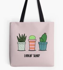 Lookin Sharp cacti trio in pots, cactus, succulent, aloe illustration Tote Bag