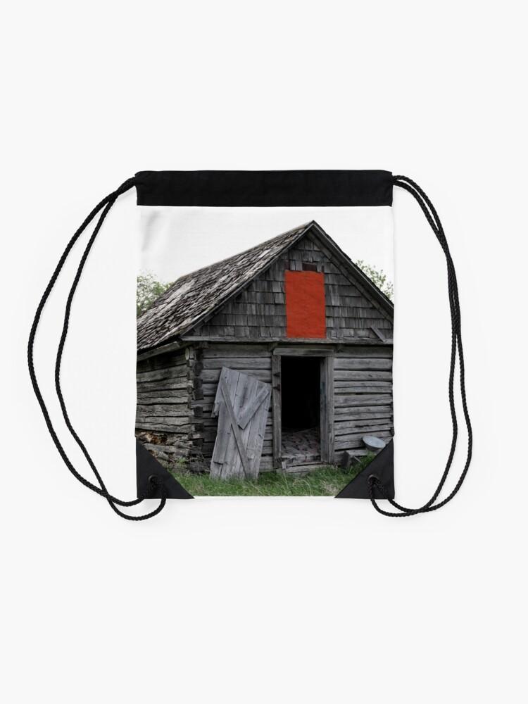 Alternate view of Old Log Cabin on the Prairies Drawstring Bag