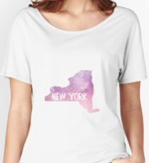 NY Pink&Purple Watercolor Women's Relaxed Fit T-Shirt