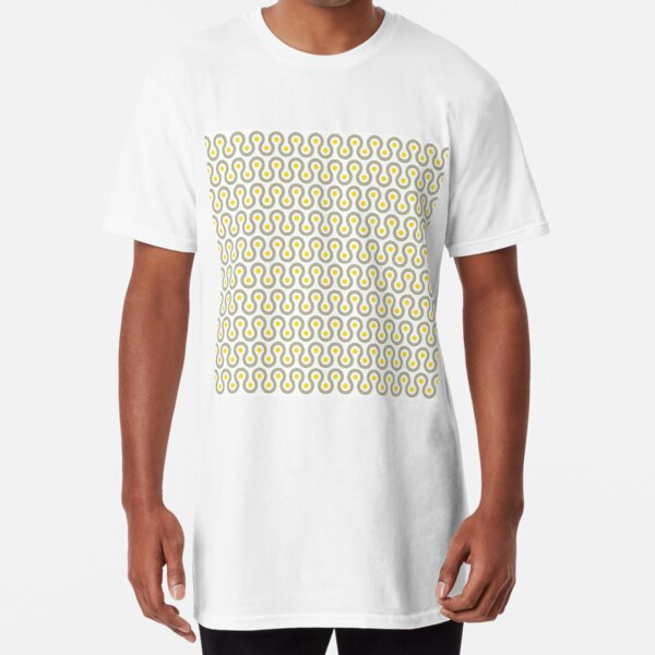 Geometric Pattern #75 (gray yellow wave) Long T-Shirt