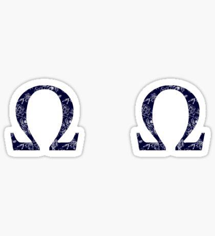 mini azul marino floral - omega Pegatina
