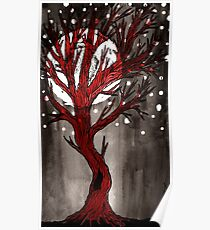 Red Tree Full Moon Poster