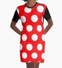 POLKA DOT-RED Graphic T-Shirt Dress