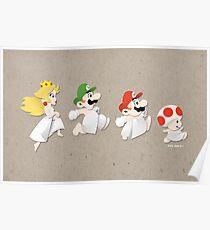 Super Mario 2 - Scrapbook Style Bathroom Art Poster