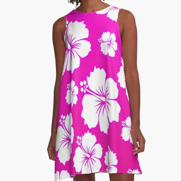 Pink Hawaiian Pattern A-Line Dress