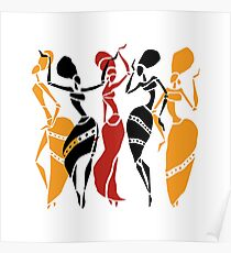 African dancers silhouette Poster