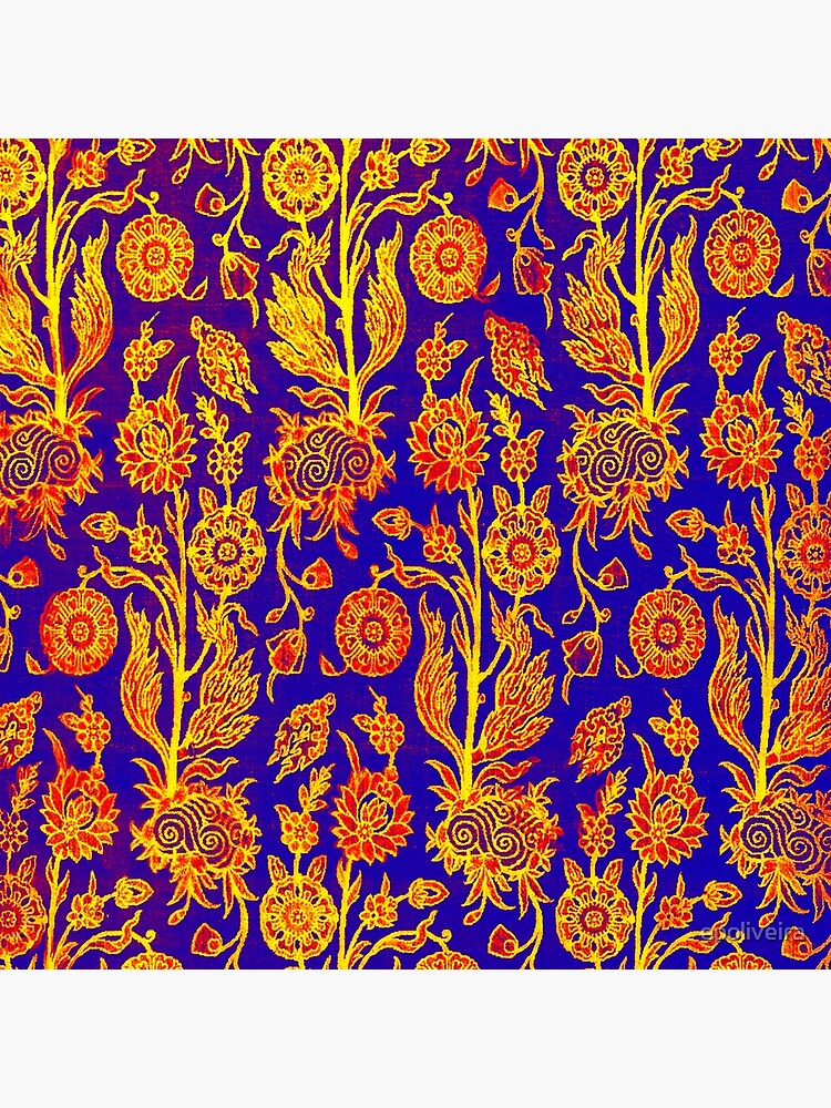 Resplendent Floral Yellow Red Blue Pattern by epoliveira