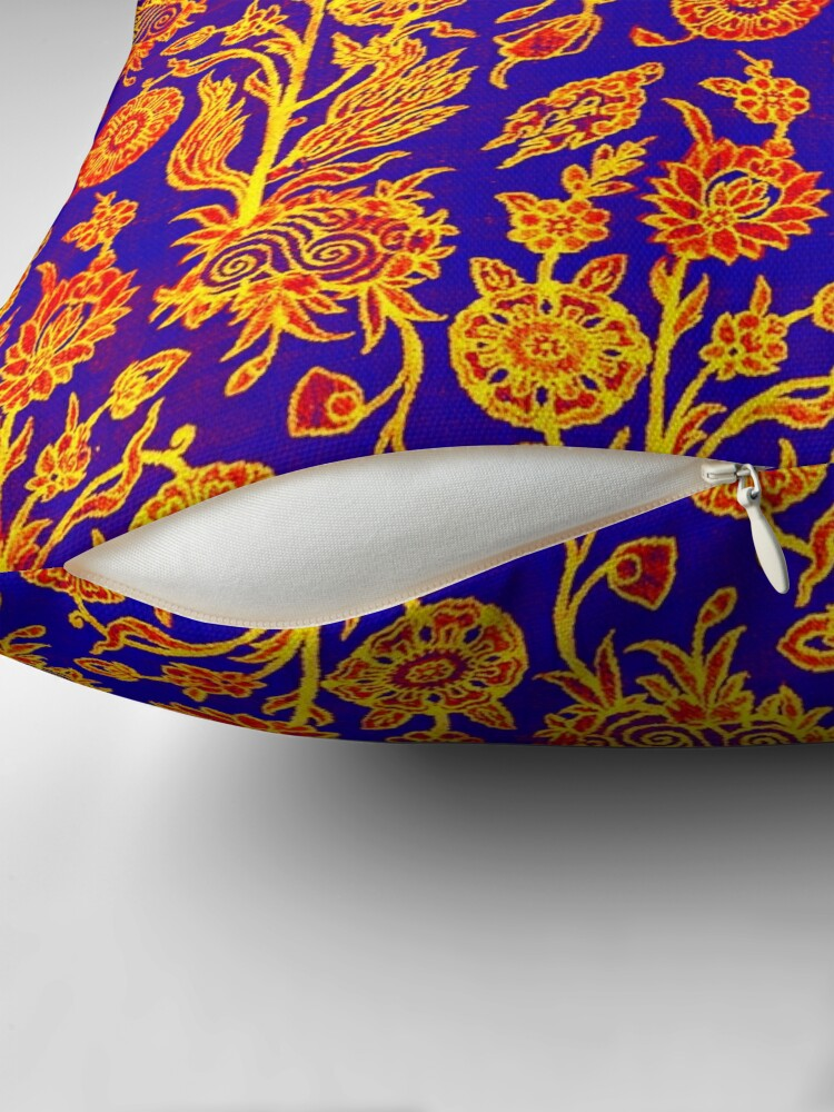 Alternate view of Resplendent Floral Yellow Red Blue Pattern Throw Pillow