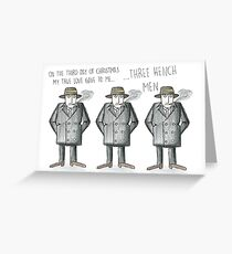 Three bench men (12 days of Christmas collection) Greeting Card