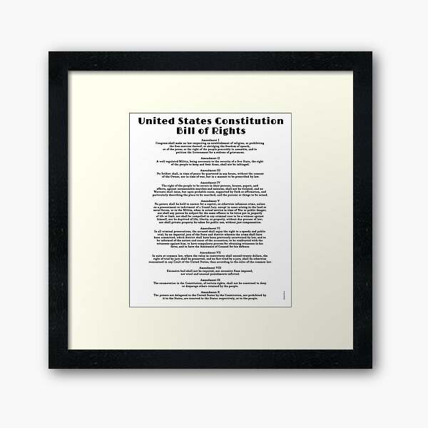 Bill of Rights, US Constitution Framed Art Print