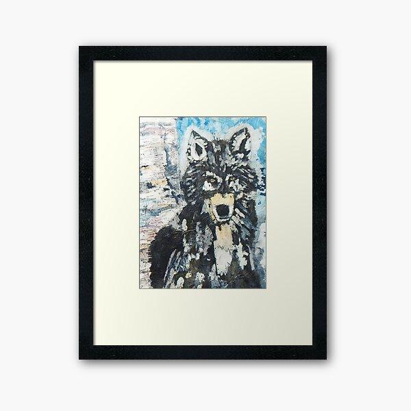 Batik Watercolour Wolf in Snow Framed Art Print