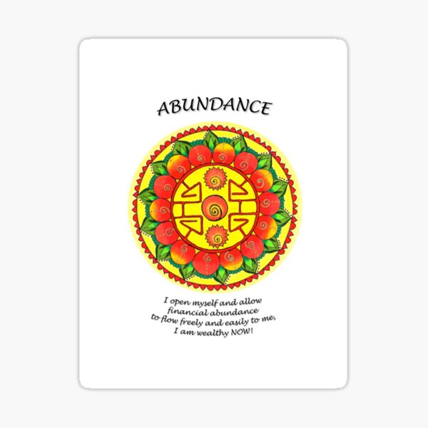 Abundance Mandala (affirmations) Sticker