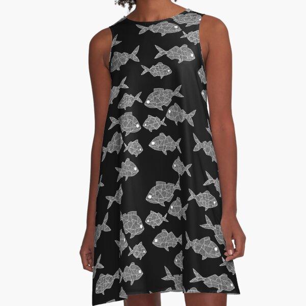 White on Black Aholehole A-Line Dress