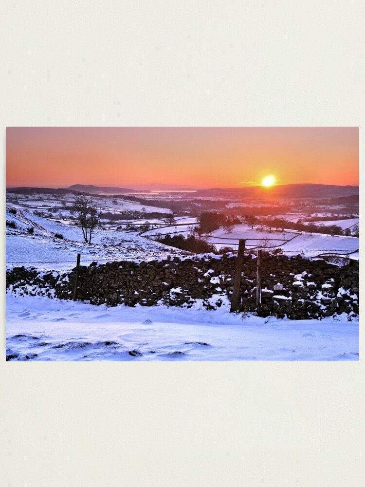 Alternate view of Winter Sunset on The Helm, Kendal - Cumbria Photographic Print