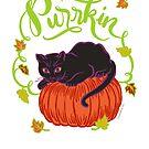 Halloween Black Cat on Pumpkin Purrkin by DoubleBrush