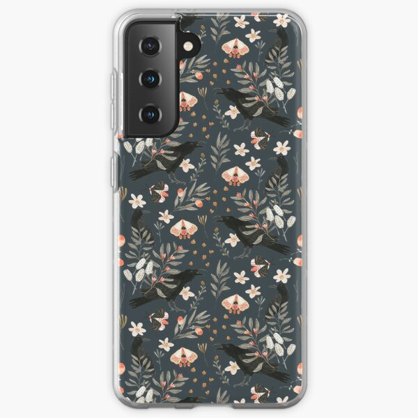 Black Crow and Butterflies Samsung Galaxy Soft Case