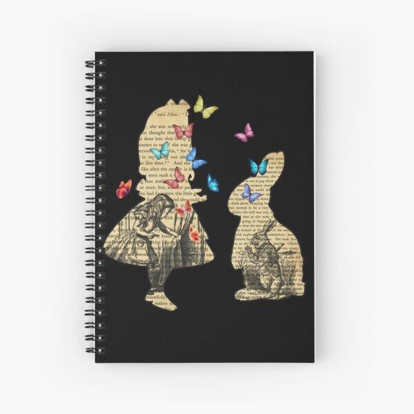 Alice & the Rabbit - Vintage Wonderland Book Spiral Notebook