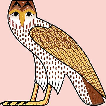 Ancient Egyptian Owl - M Hieroglyph Special Edition on Pink by PyramidPrintWrx