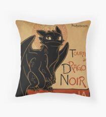 Le Dragon Noir Throw Pillow