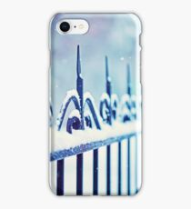metal decorative fence fragment with snow iPhone Case/Skin