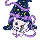 Halloween Cute Cat under Sorcerer's Witch Hat by DoubleBrush