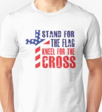 Stand For The Flag - Kneel For The Cross - Proud American Flag Cross Christian  T-Shirt