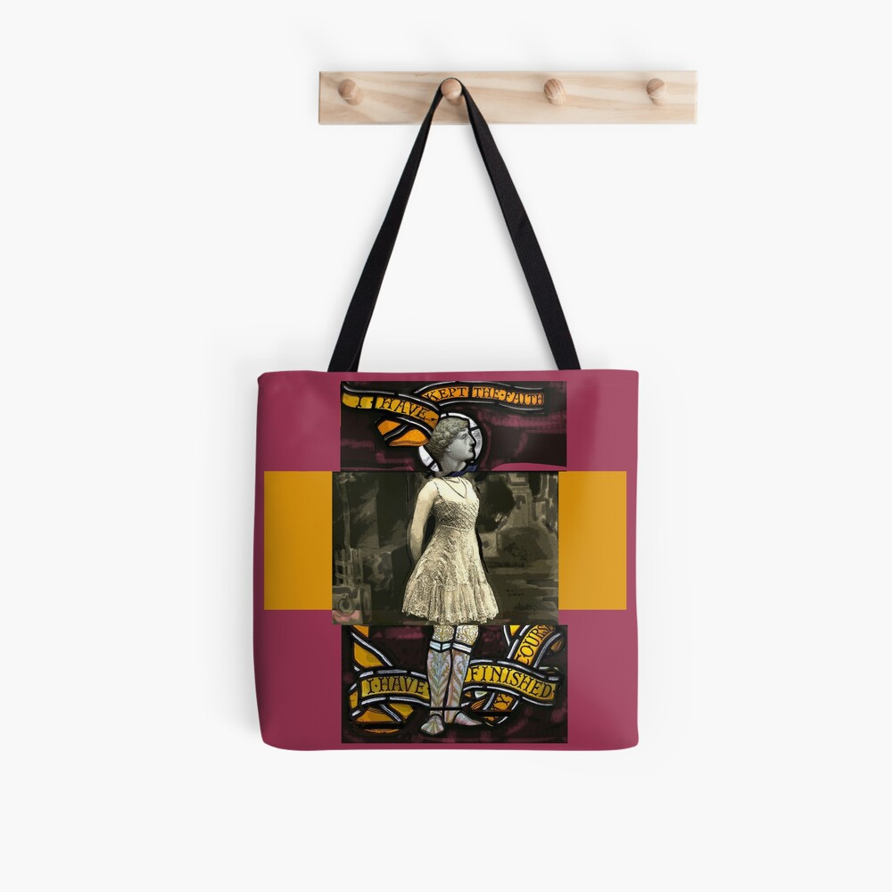 I have kept the faith stained glass painting Tote Bag
