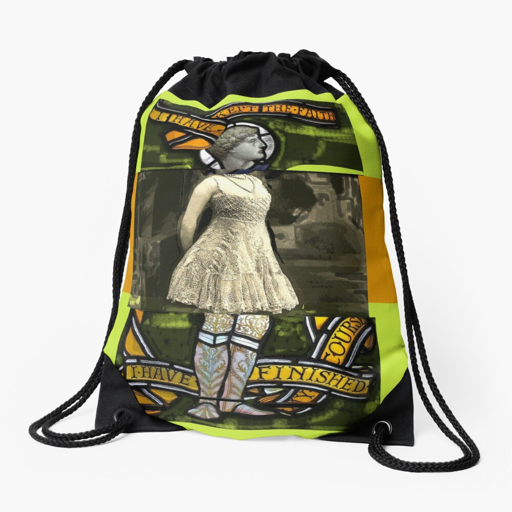 I have kept the faith stained glass painting Drawstring Bag