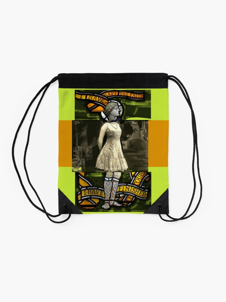 Alternate view of I have kept the faith stained glass painting Drawstring Bag