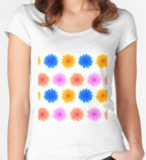 Spring Pink Blue Yellow Flowers Isolated on White Background. Seamless Colorful Flower Pattern Women's Fitted Scoop T-Shirt