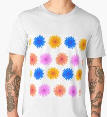 Spring Pink Blue Yellow Flowers Isolated on White Background. Seamless Colorful Flower Pattern Men's Premium T-Shirt