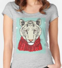 Merry Christmas New Year's card design Tiger head in a red knitted sweater and a scarf. Sketch drawing. Black contour on a blue background Women's Fitted Scoop T-Shirt