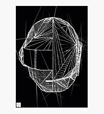 Geometric DaftPunk Helm - BLACK/WHITE Photographic Print