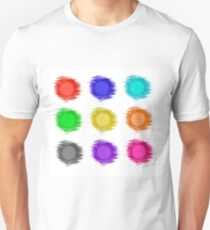Set of Round Colored Banners Isolated on White Background. Colorful Grungy Circles. Transtarent Watercolor Shares. T-Shirt