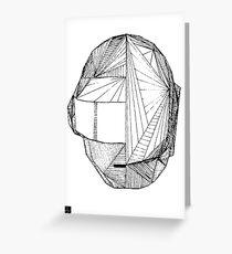 Geometric DaftPunk Helm - WHITE/BLACK Greeting Card