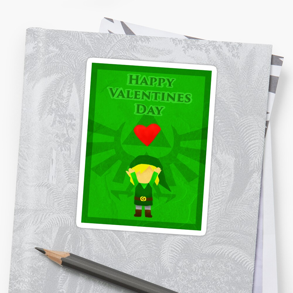 Legend Of Zelda Valentines Day Card Stickers By Nicole Mule