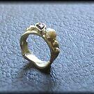 Garnet Pearl Ring Side 1 by HclarkDesigns