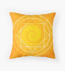 Strange magic circle, orange glowing mandala Throw Pillow