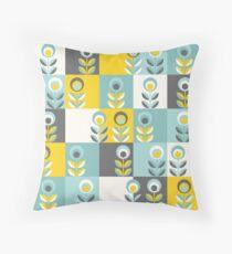 Scandinavian flowers 02, yellow-gray-teal, retro pattern Throw Pillow