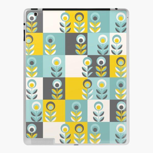 Scandinavian flowers 02, yellow-gray-teal, retro pattern iPad Skin
