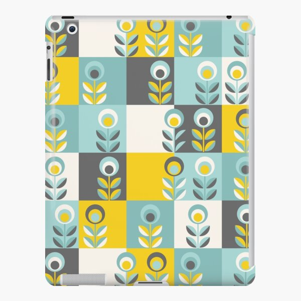 Scandinavian flowers 02, yellow-gray-teal, retro pattern iPad Snap Case