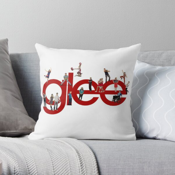 glee logo with the cast Throw Pillow