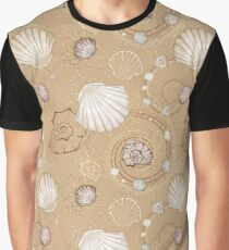 Seamless Pattern of Seashells Graphic T-Shirt