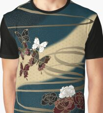 Japanese style flower and butterfly Graphic T-Shirt