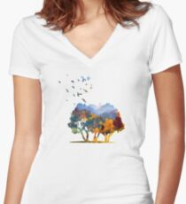 Autumn in the mountains Women's Fitted V-Neck T-Shirt