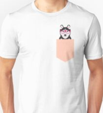 Kamri - Siberian Husky with Pink Hipster Glasses, Cute Retro Dog, Dog, Husky with Glasses, Funny Dog Unisex T-Shirt