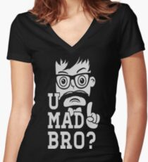 Like a swag cool u mad story bro moustache style Women's Fitted V-Neck T-Shirt