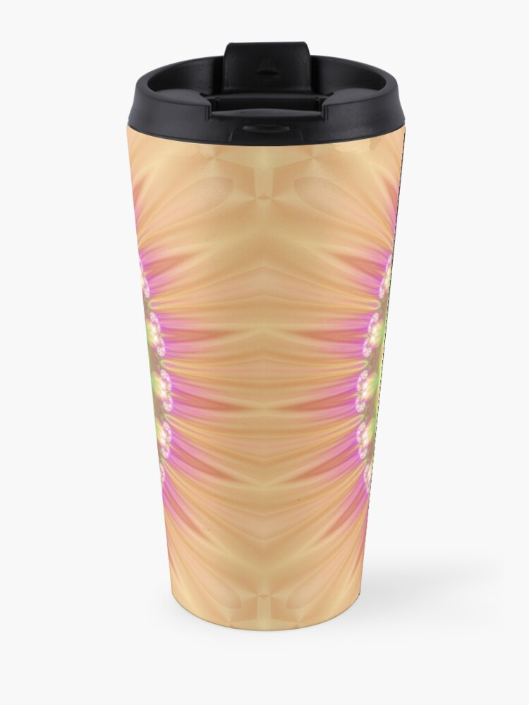 Alternate view of Beauty Mandala 01 in Pink, Yellow, Green and White Travel Mug
